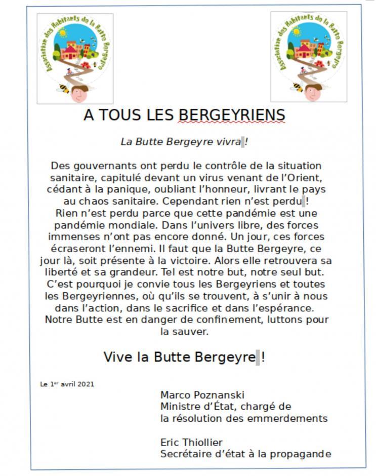 Appel de la Commune libre de la Butte Bergeyre