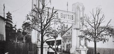 L'entrée principale du parc d'attraction Les Folles Buttes en 1912